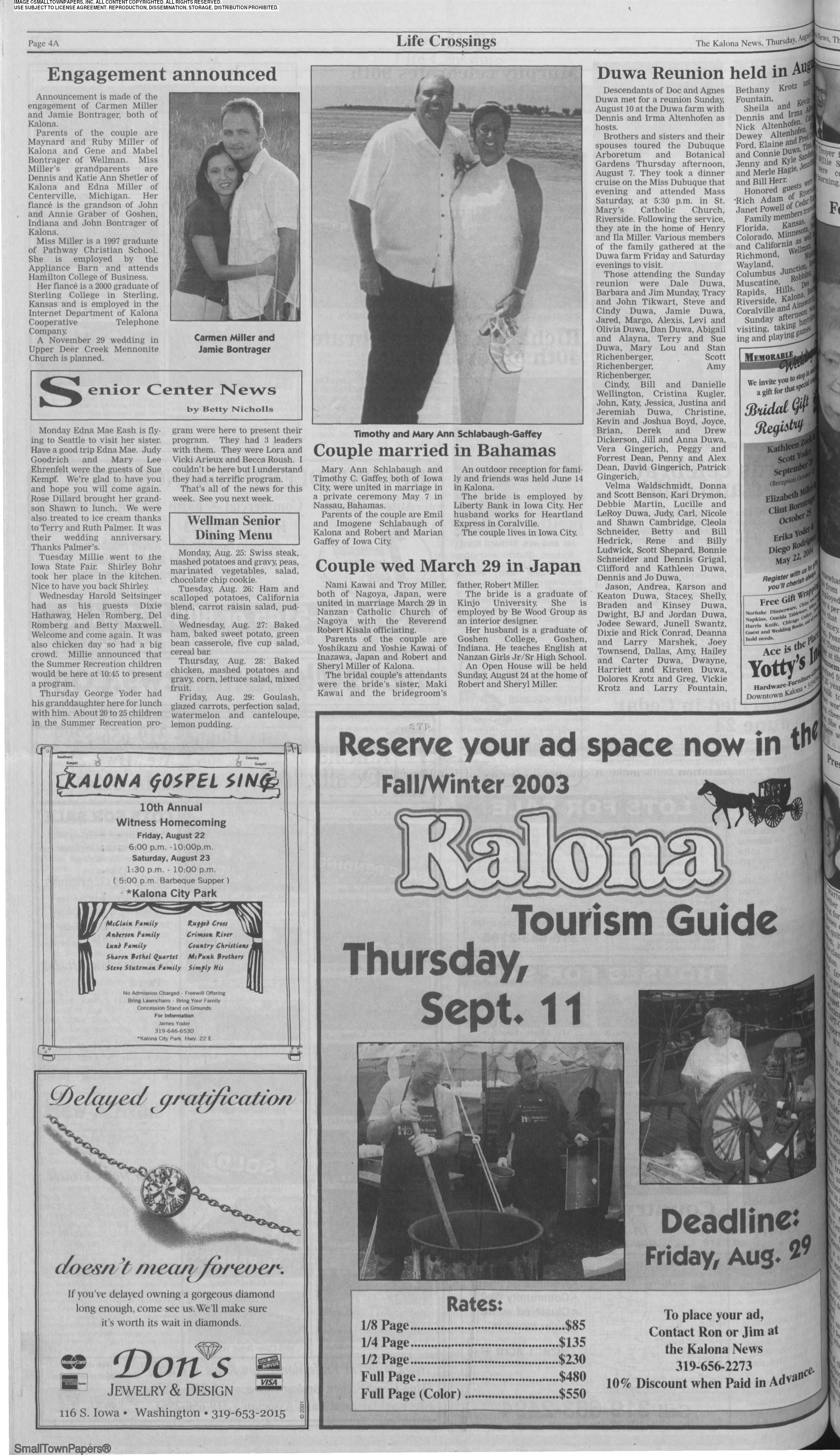 The Kalona News August 21, 2003: Page 4